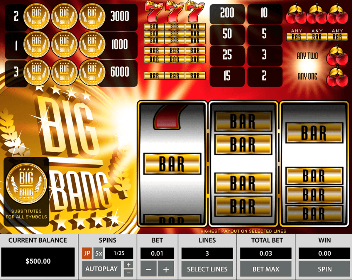 big bang pragmatic jogo casino online