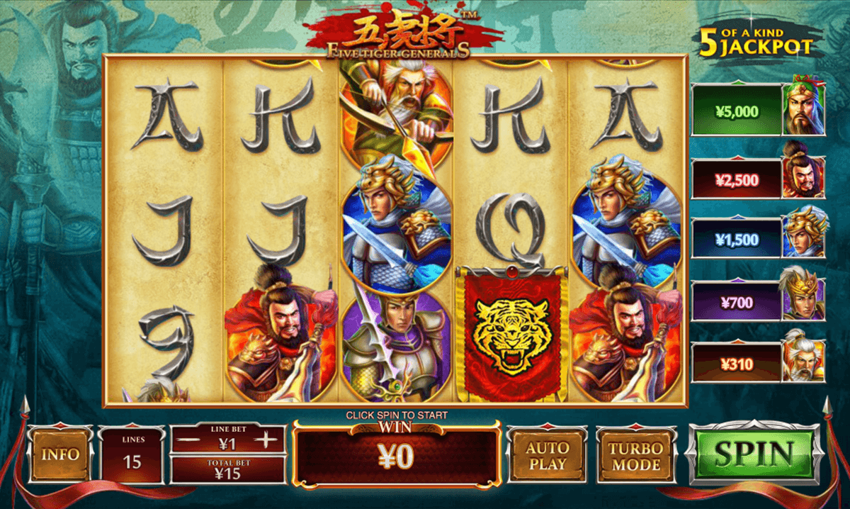 five tiger generals playtech jogo casino online