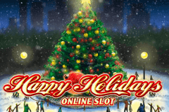 logo happy holidays microgaming caça niquel